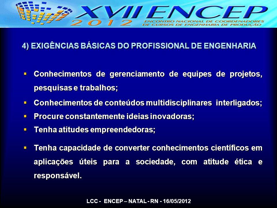 4) EXIGÊNCIAS BÁSICAS DO PROFISSIONAL DE ENGENHARIA Conhecimentos de gerenciamento de equipes de projetos, pesquisas e trabalhos; Conhecimentos de ger