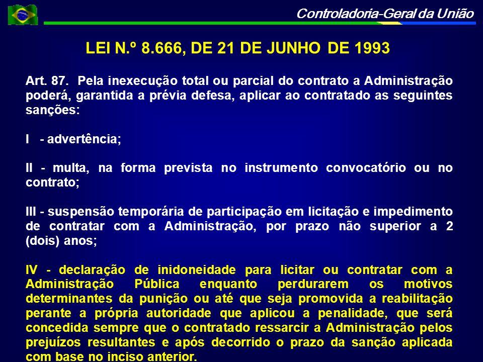 Controladoria-Geral da União LEI N.º 8.666, DE 21 DE JUNHO DE 1993 Art.