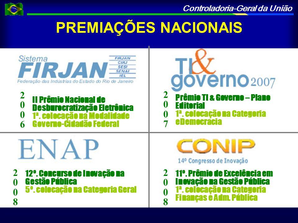 Controladoria-Geral da União PREMIAÇÕES NACIONAIS II Prêmio Nacional de Desburocratização Eletrônica 1ª.