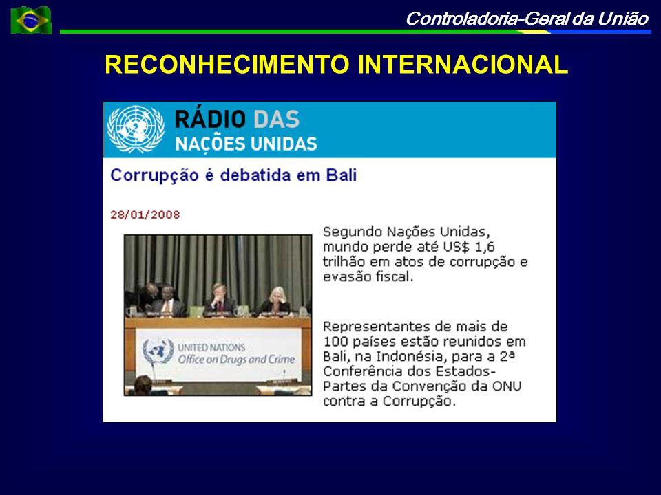Controladoria-Geral da União RECONHECIMENTO INTERNACIONAL