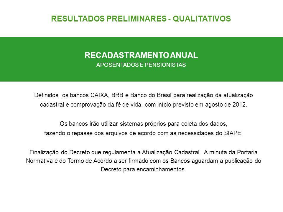 Definidos os bancos CAIXA, BRB e Banco do Brasil para realização da atualização cadastral e comprovação da fé de vida, com início previsto em agosto d