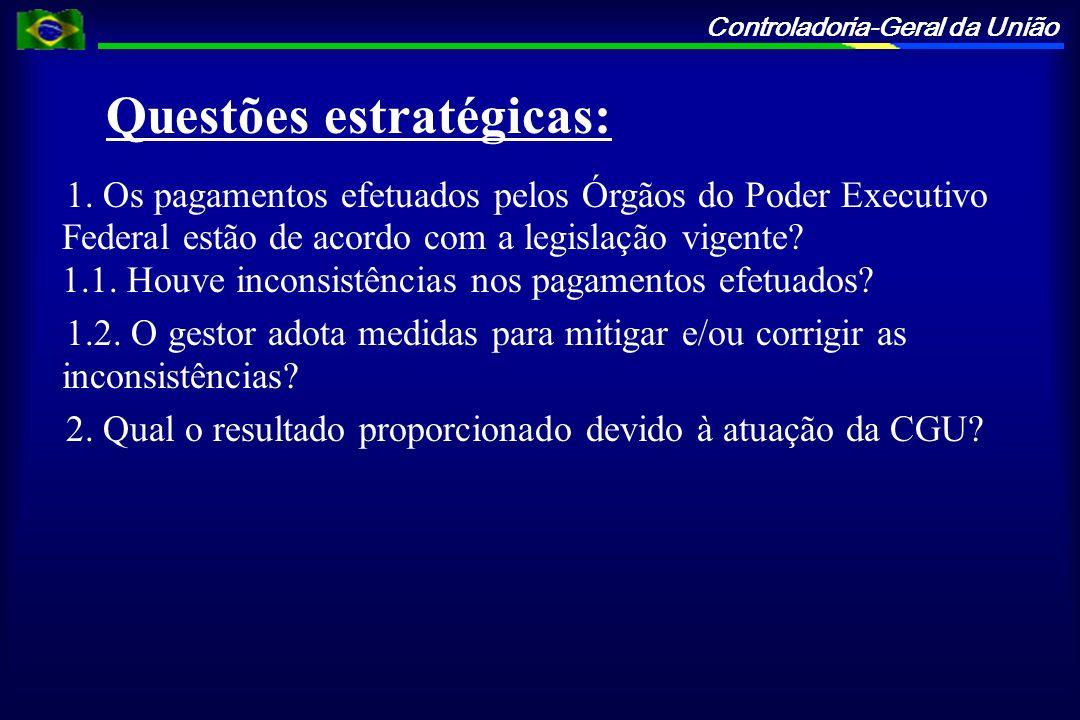 Controladoria-Geral da União Questões estratégicas: 1. Os pagamentos efetuados pelos Órgãos do Poder Executivo Federal estão de acordo com a legislaçã