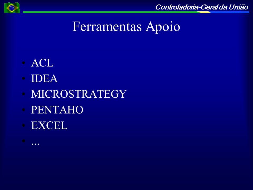 Controladoria-Geral da União Ferramentas Apoio ACL IDEA MICROSTRATEGY PENTAHO EXCEL...