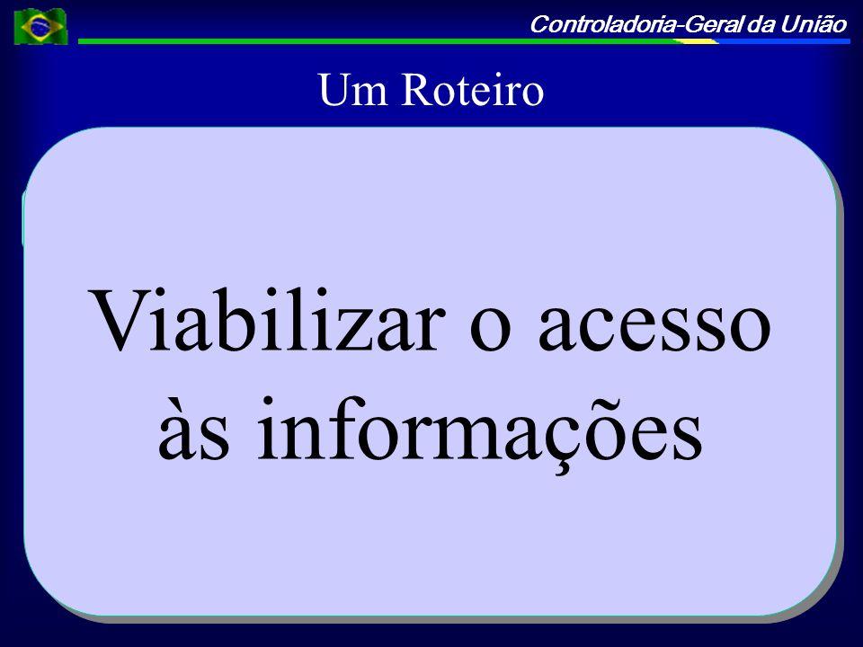 Controladoria-Geral da União Um Roteiro Sistemas Envolvidos Viabilizar o acesso às informações Definir a periodicidade Monitorar/Avaliar Viabilizar o