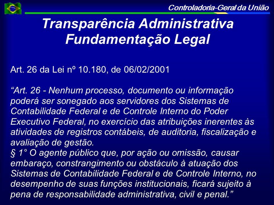 Controladoria-Geral da União Transparência Administrativa Fundamentação Legal Art. 26 da Lei nº 10.180, de 06/02/2001 Art. 26 - Nenhum processo, docum