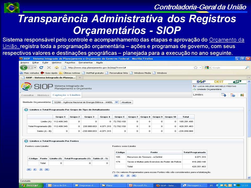 Controladoria-Geral da União Transparência Administrativa dos Registros Orçamentários - SIOP Sistema responsável pelo controle e acompanhamento das et