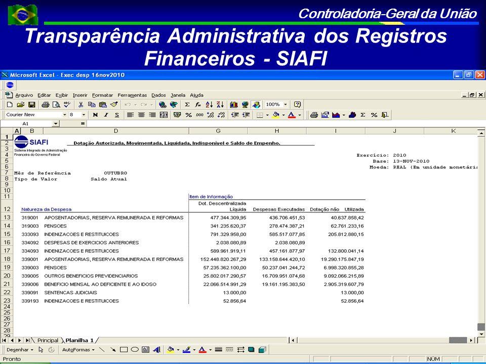 Controladoria-Geral da União Transparência Administrativa dos Registros Financeiros - SIAFI O SIAFI Gerencial é um sistema, em ambiente Web, que possi
