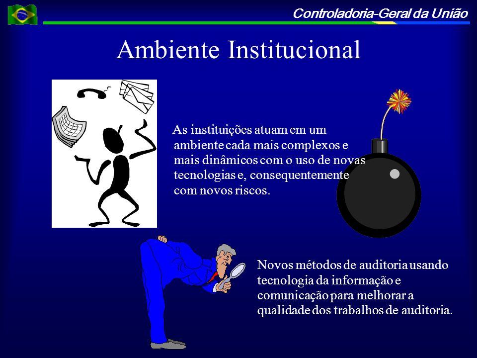 Controladoria-Geral da União Ambiente Institucional As instituições atuam em um ambiente cada mais complexos e mais dinâmicos com o uso de novas tecno