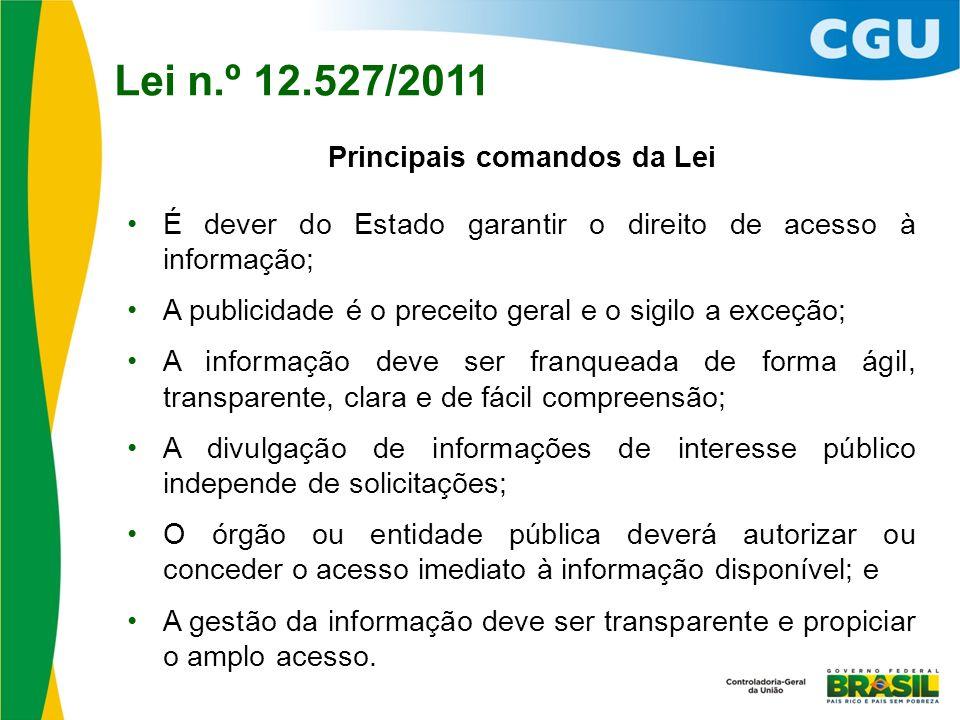 Principais comandos da Lei É dever do Estado garantir o direito de acesso à informação; A publicidade é o preceito geral e o sigilo a exceção; A infor