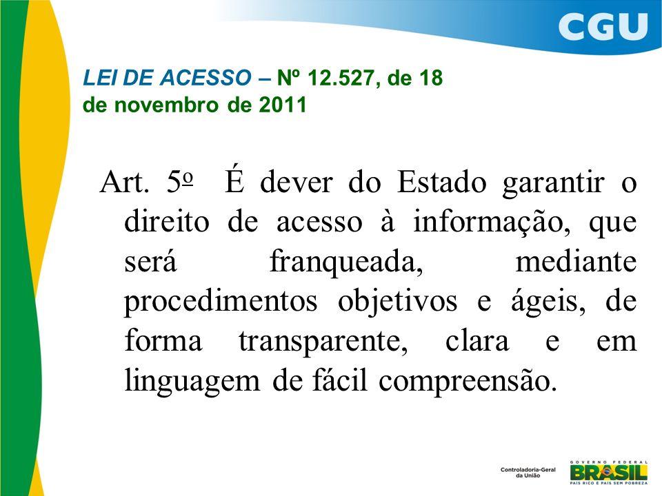 LEI DE ACESSO – Nº 12.527, de 18 de novembro de 2011 Art. 5 o É dever do Estado garantir o direito de acesso à informação, que será franqueada, median