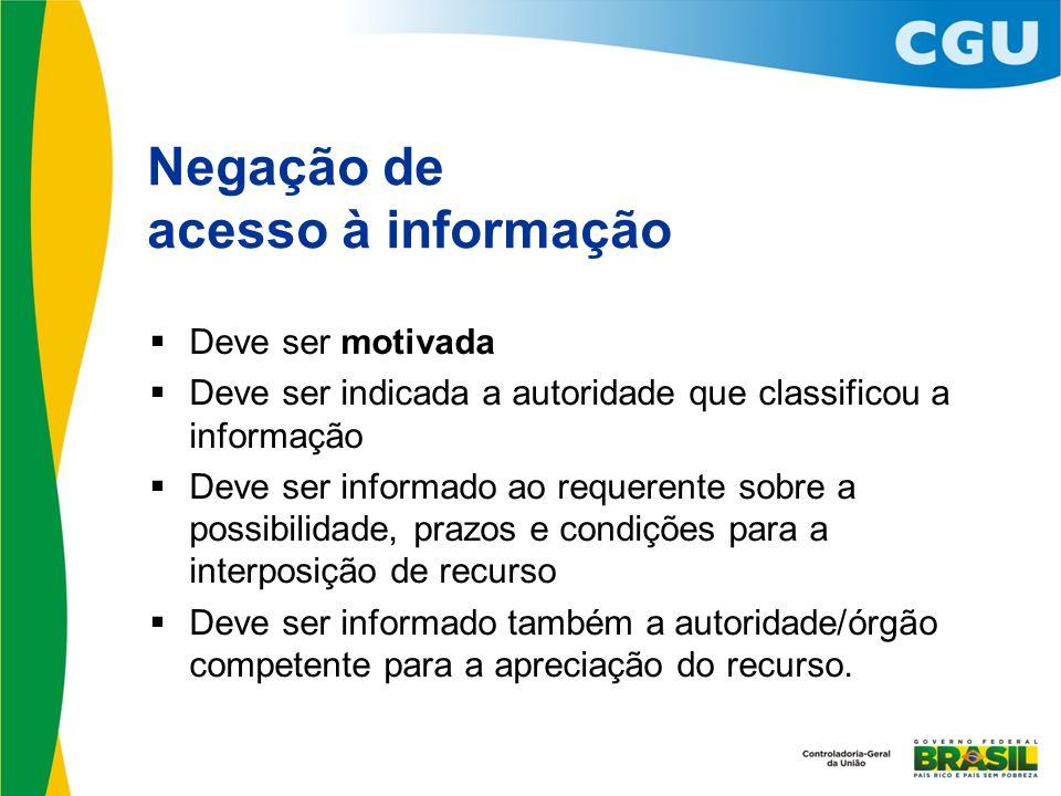 Negação de acesso à informação Deve ser motivada Deve ser indicada a autoridade que classificou a informação Deve ser informado ao requerente sobre a