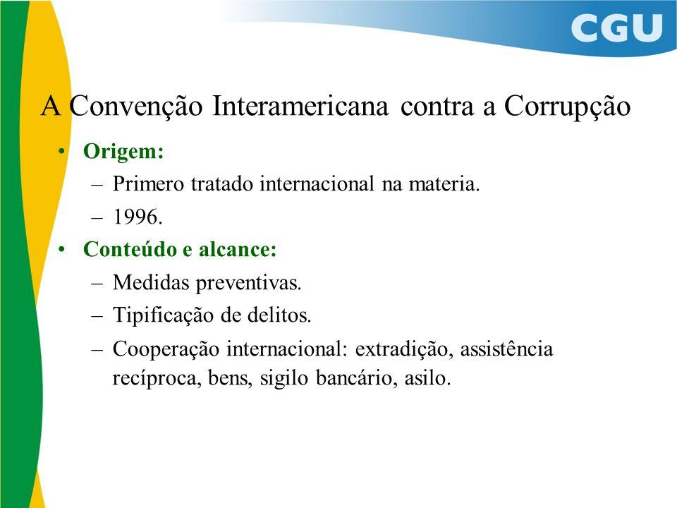 A Convenção Interamericana contra a Corrupção Origem: –Primero tratado internacional na materia.
