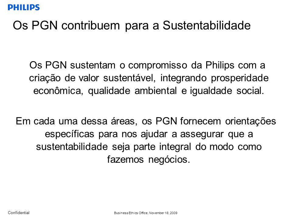 Confidential Business Ethics Office, November 18, 2009 Os PGN sustentam o compromisso da Philips com a criação de valor sustentável, integrando prosperidade econômica, qualidade ambiental e igualdade social.