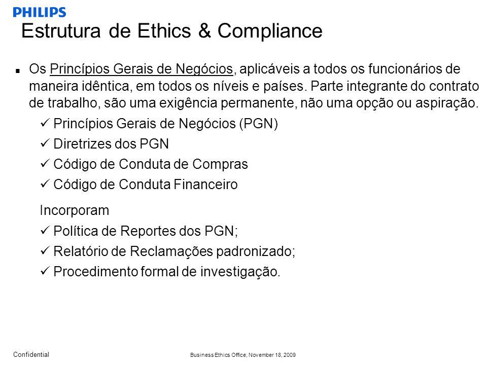 Confidential Business Ethics Office, November 18, 2009 Os Princípios Gerais de Negócios, aplicáveis a todos os funcionários de maneira idêntica, em todos os níveis e países.