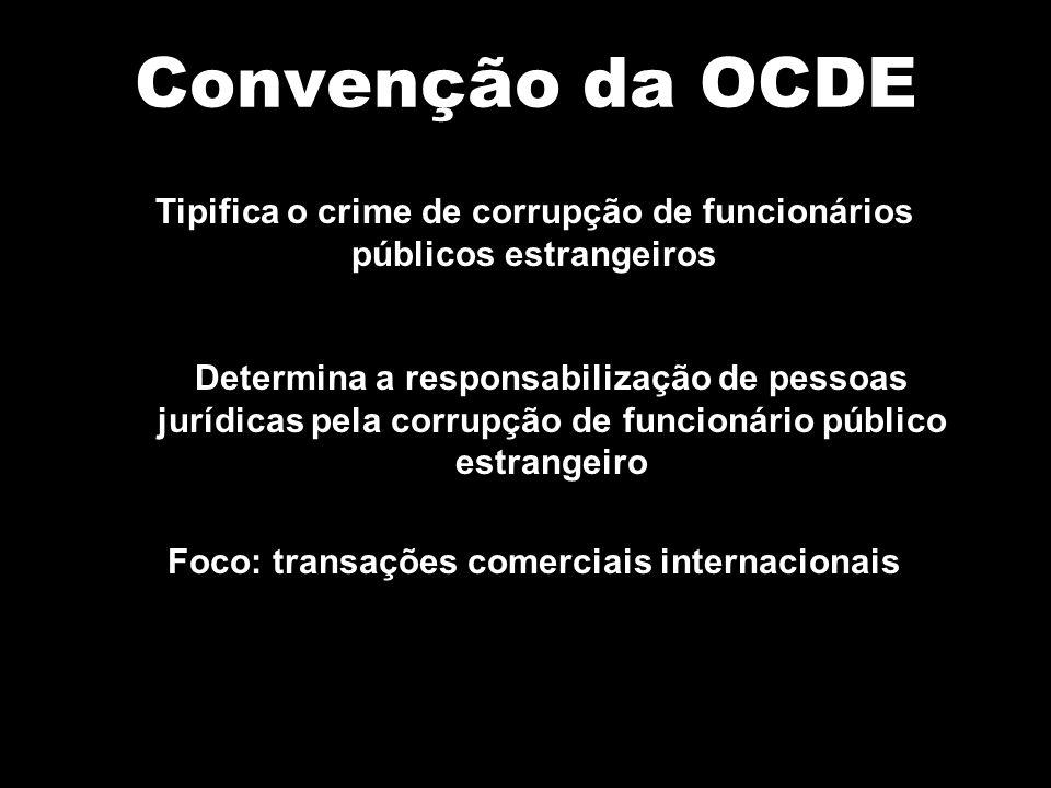 Convenção da OCDE Tipifica o crime de corrupção de funcionários públicos estrangeiros Determina a responsabilização de pessoas jurídicas pela corrupçã