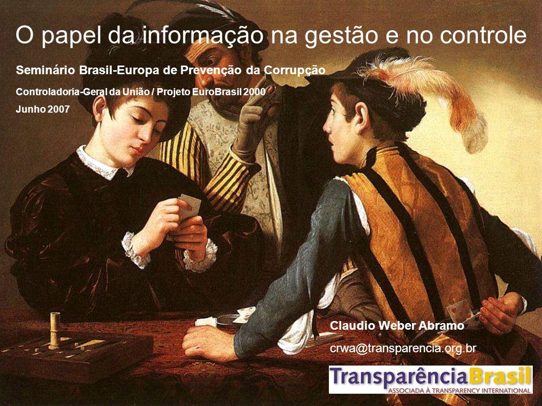 O papel da informação na gestão e no controle Seminário Brasil-Europa de Prevenção da Corrupção Controladoria-Geral da União / Projeto EuroBrasil 2000 Junho 2007 Claudio Weber Abramo crwa@transparencia.org.br