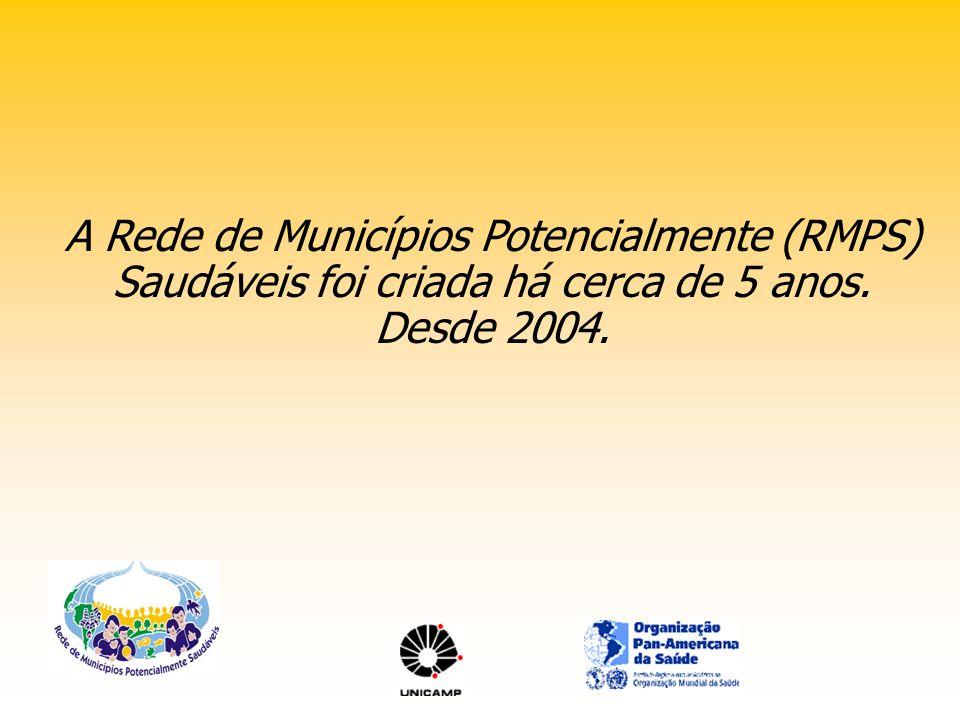 A Rede de Municípios Potencialmente (RMPS) Saudáveis foi criada há cerca de 5 anos. Desde 2004.