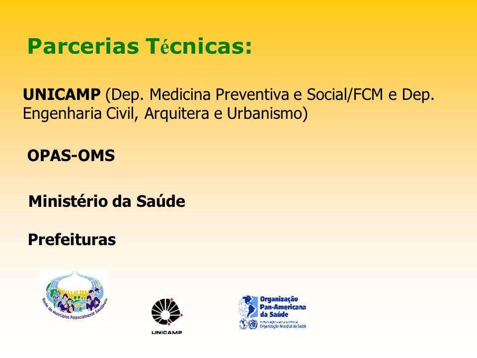 Parcerias T é cnicas: UNICAMP (Dep. Medicina Preventiva e Social/FCM e Dep.