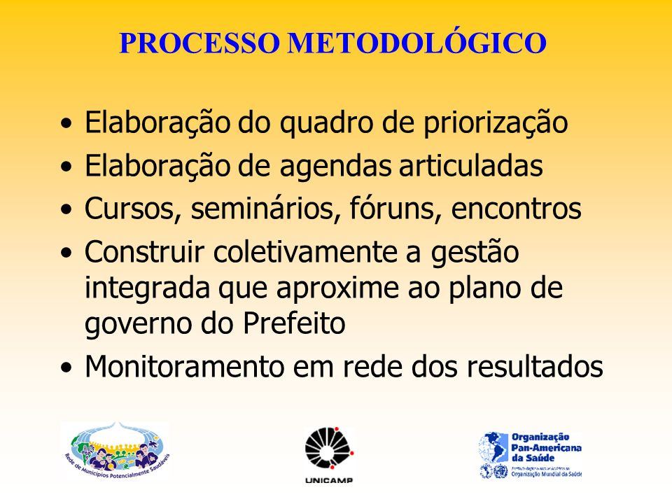 PROCESSO METODOLÓGICO Elaboração do quadro de priorização Elaboração de agendas articuladas Cursos, seminários, fóruns, encontros Construir coletivame