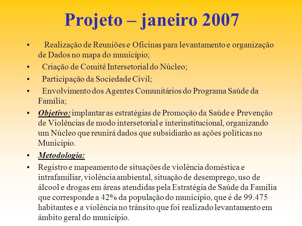 Projeto – janeiro 2007 Realização de Reuniões e Oficinas para levantamento e organização de Dados no mapa do município; Criação de Comitê Intersetoria