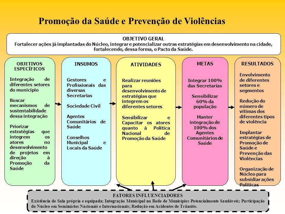 OBJETIVO GERAL Fortalecer ações já implantadas do Núcleo, integrar e potencializar outras estratégias em desenvolvimento na cidade, fortalecendo, dess