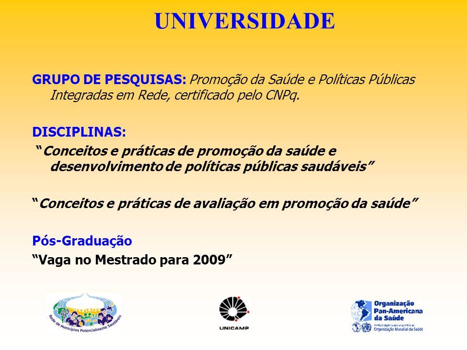 UNIVERSIDADE GRUPO DE PESQUISAS: Promoção da Saúde e Políticas Públicas Integradas em Rede, certificado pelo CNPq. DISCIPLINAS: Conceitos e práticas d