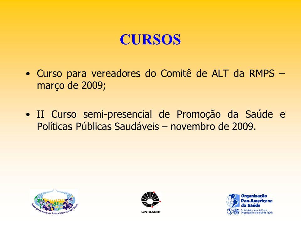 CURSOS Curso para vereadores do Comitê de ALT da RMPS – março de 2009; II Curso semi-presencial de Promoção da Saúde e Políticas Públicas Saudáveis –