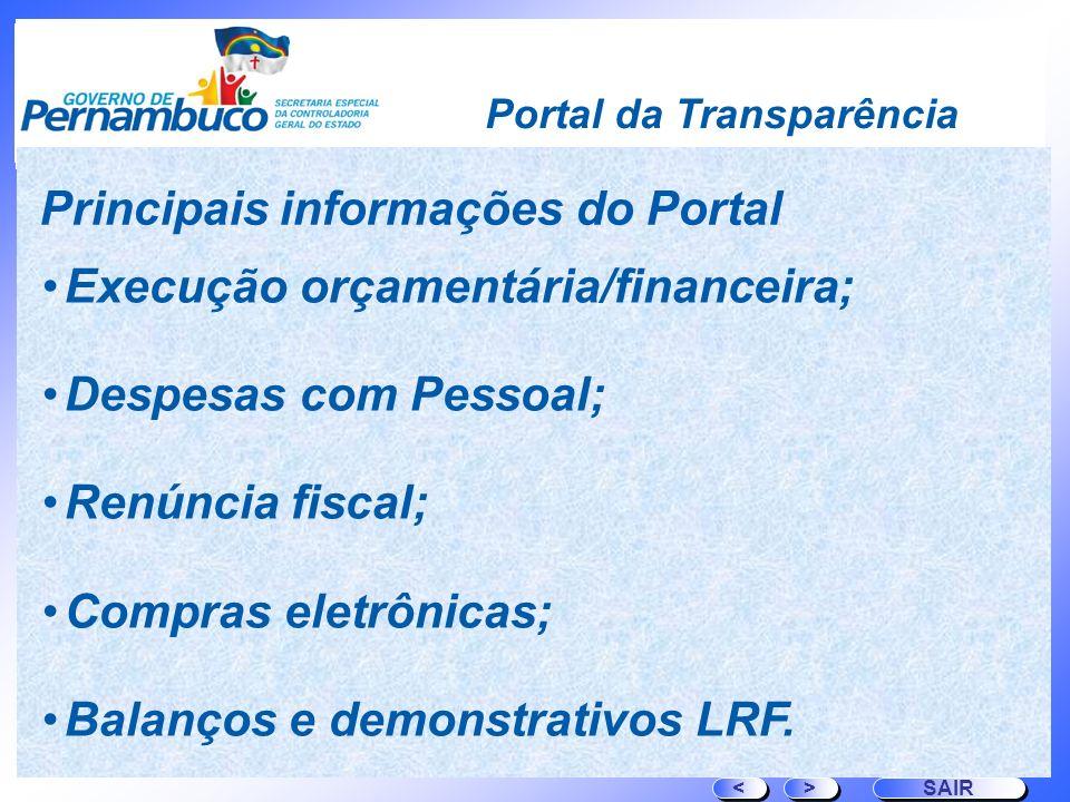 Portal da Transparência Execução orçamentária/financeira; Despesas com Pessoal; Renúncia fiscal; Compras eletrônicas; Balanços e demonstrativos LRF. >