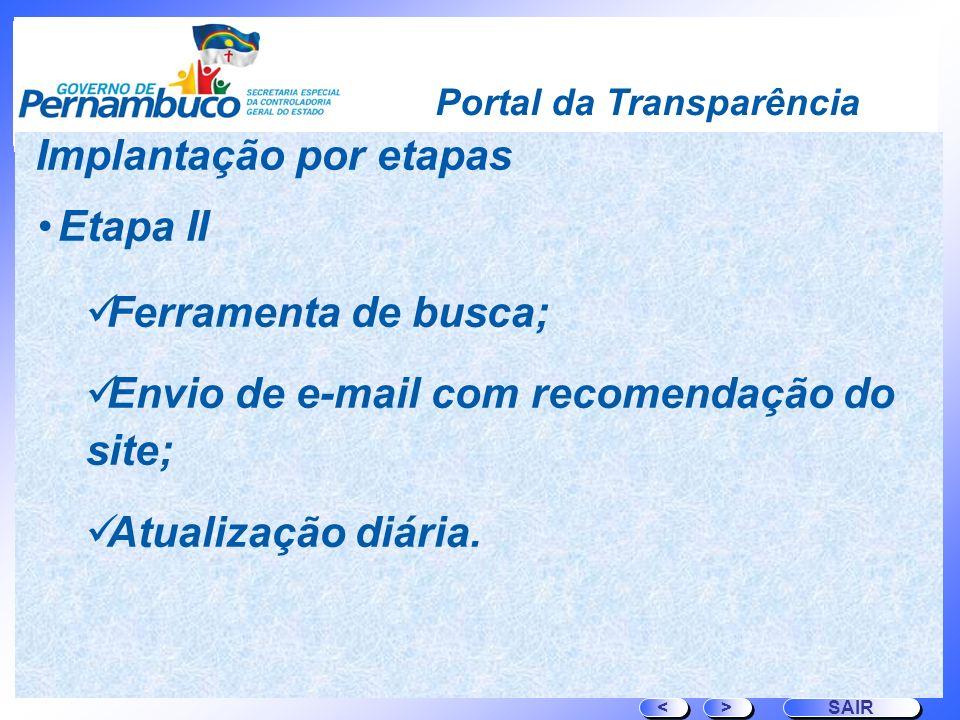 Portal da Transparência Etapa II Ferramenta de busca; Envio de e-mail com recomendação do site; Atualização diária. > > SAIR < < Implantação por etapa
