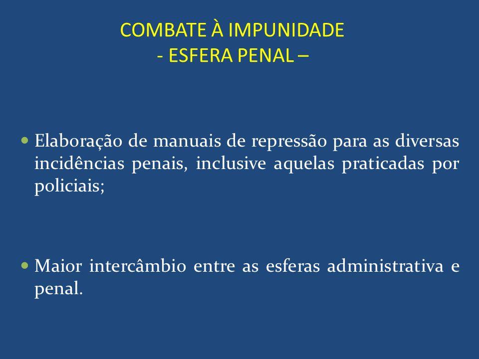 COMBATE À IMPUNIDADE - ESFERA PENAL – Elaboração de manuais de repressão para as diversas incidências penais, inclusive aquelas praticadas por policia