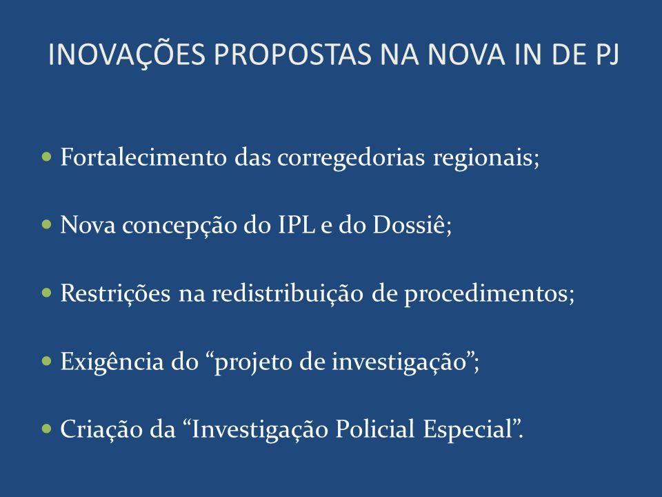 INOVAÇÕES PROPOSTAS NA NOVA IN DE PJ Fortalecimento das corregedorias regionais; Nova concepção do IPL e do Dossiê; Restrições na redistribuição de pr