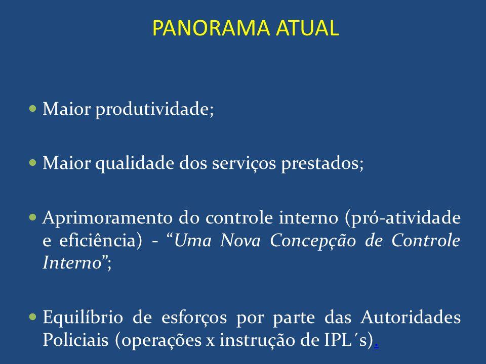 PANORAMA ATUAL Maior produtividade; Maior qualidade dos serviços prestados; Aprimoramento do controle interno (pró-atividade e eficiência) - Uma Nova