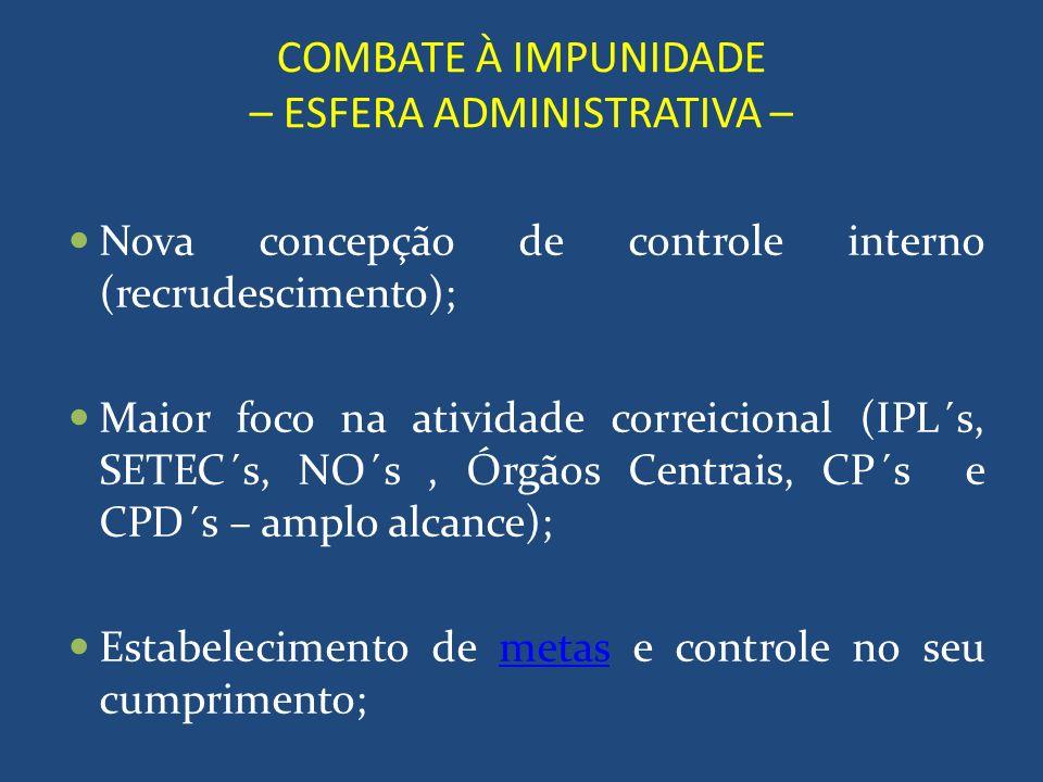 COMBATE À IMPUNIDADE – ESFERA ADMINISTRATIVA – Nova concepção de controle interno (recrudescimento); Maior foco na atividade correicional (IPL´s, SETE