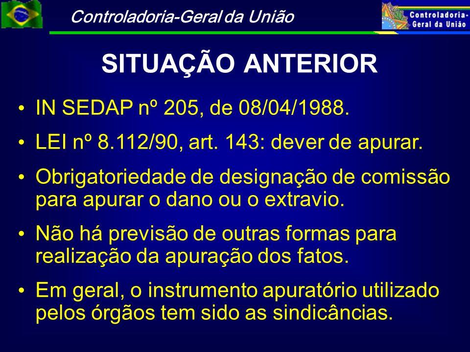 Controladoria-Geral da União SITUAÇÃO ANTERIOR IN SEDAP nº 205, de 08/04/1988. LEI nº 8.112/90, art. 143: dever de apurar. Obrigatoriedade de designaç