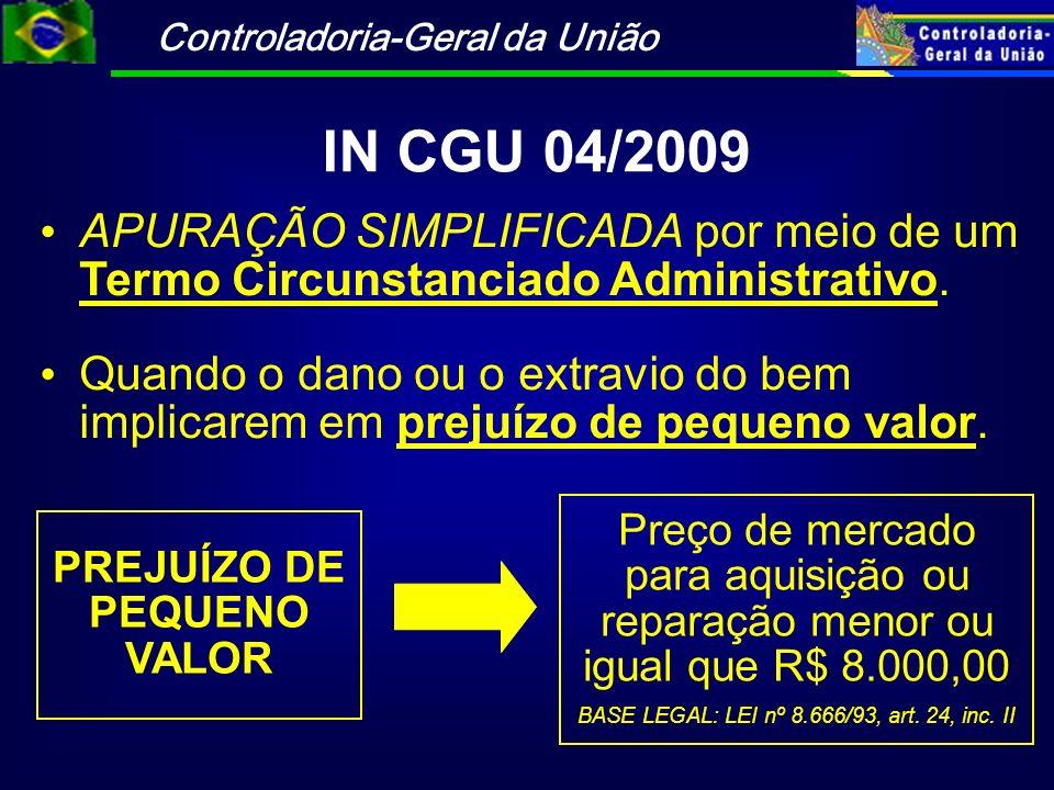 Controladoria-Geral da União IN CGU 04/2009 APURAÇÃO SIMPLIFICADA por meio de um Termo Circunstanciado Administrativo. Quando o dano ou o extravio do
