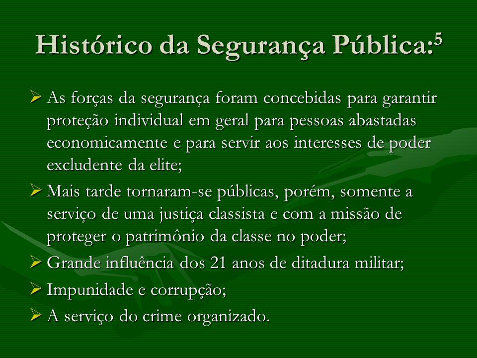 Histórico da Segurança Pública: 5 As forças da segurança foram concebidas para garantir proteção individual em geral para pessoas abastadas economicam