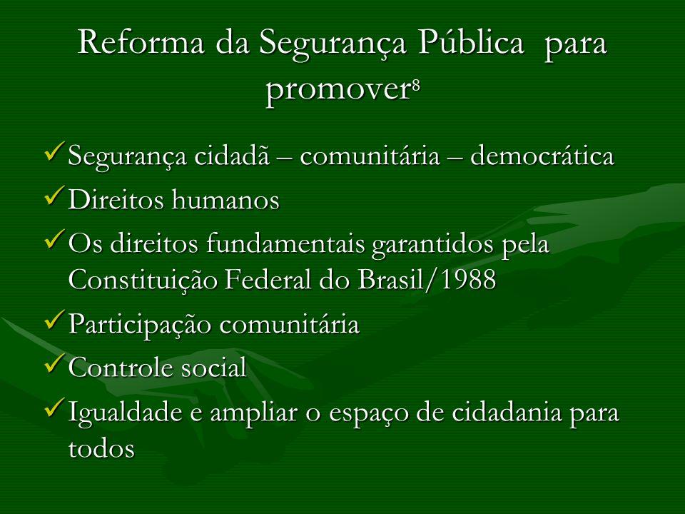 Reforma da Segurança Pública para promover 8 Segurança cidadã – comunitária – democrática Segurança cidadã – comunitária – democrática Direitos humano