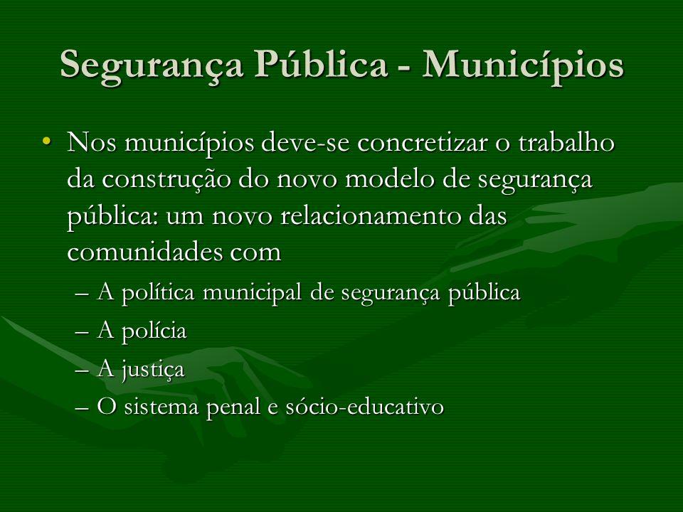 Segurança Pública - Municípios Nos municípios deve-se concretizar o trabalho da construção do novo modelo de segurança pública: um novo relacionamento