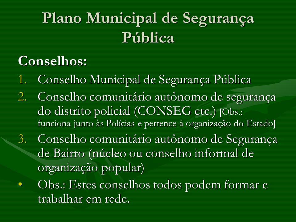 Plano Municipal de Segurança Pública Conselhos: 1.Conselho Municipal de Segurança Pública 2.Conselho comunitário autônomo de segurança do distrito pol