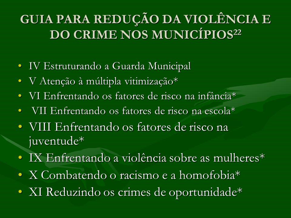 GUIA PARA REDUÇÃO DA VIOLÊNCIA E DO CRIME NOS MUNICÍPIOS 22 IV Estruturando a Guarda MunicipalIV Estruturando a Guarda Municipal V Atenção à múltipla