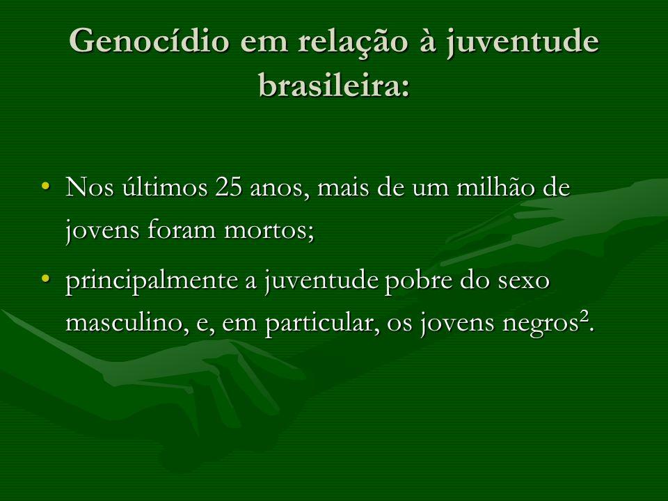 Genocídio em relação à juventude brasileira: Nos últimos 25 anos, mais de um milhão de jovens foram mortos;Nos últimos 25 anos, mais de um milhão de j