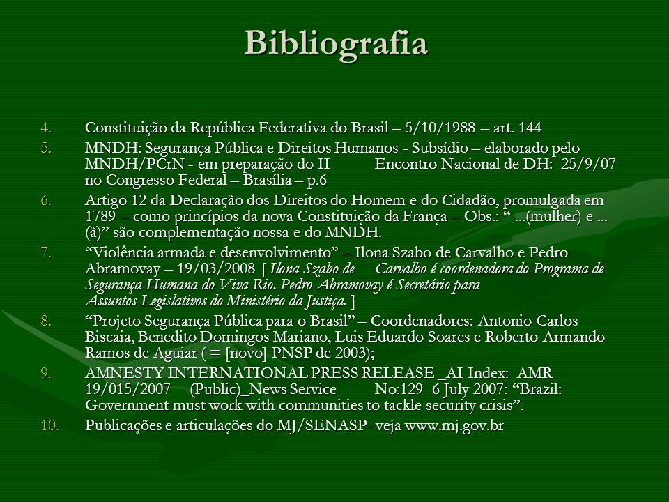 Bibliografia 4.Constituição da República Federativa do Brasil – 5/10/1988 – art. 144 5.MNDH: Segurança Pública e Direitos Humanos - Subsídio – elabora
