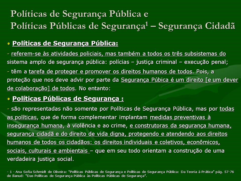 Políticas de Segurança Pública e Políticas Públicas de Segurança 1 – Segurança Cidadã Segurança Pública, logo, deve fazer parte das Políticas Públicas de Segurança em geral, ou seja, de todas das políticas num estado democrático de direito.