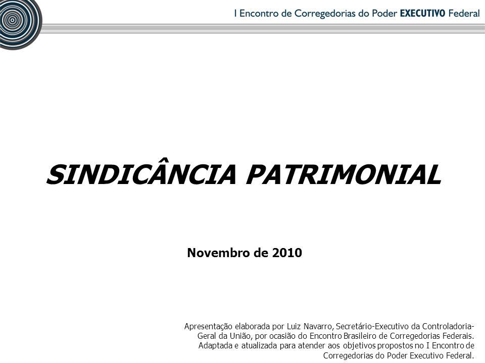SINDICÂNCIA PATRIMONIAL Novembro de 2010 Apresentação elaborada por Luiz Navarro, Secretário-Executivo da Controladoria- Geral da União, por ocasião do Encontro Brasileiro de Corregedorias Federais.