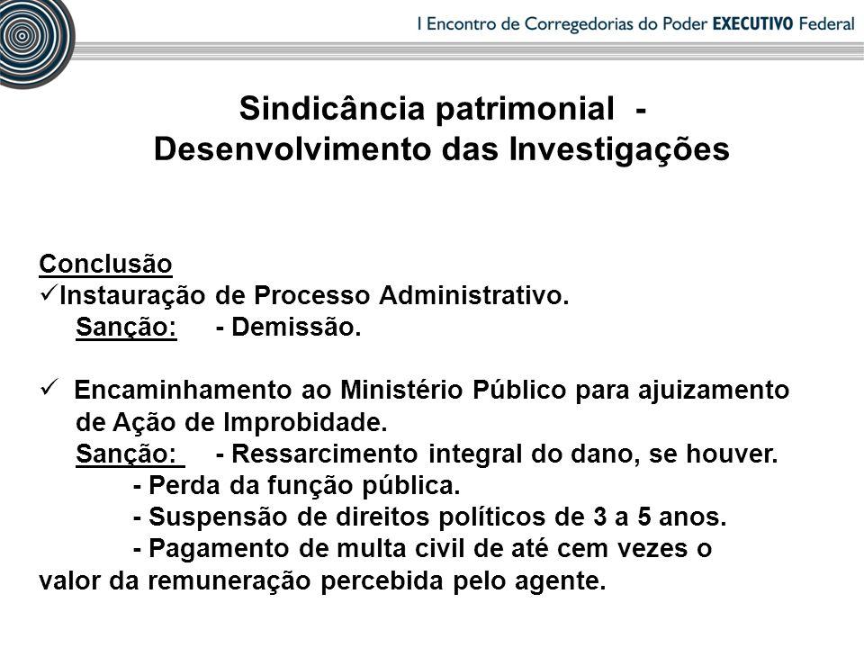 Conclusão Instauração de Processo Administrativo. Sanção: - Demissão. Encaminhamento ao Ministério Público para ajuizamento de Ação de Improbidade. Sa