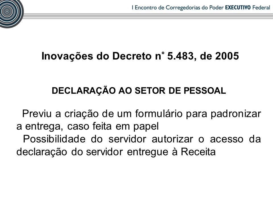DECLARAÇÃO AO SETOR DE PESSOAL Previu a criação de um formulário para padronizar a entrega, caso feita em papel Possibilidade do servidor autorizar o acesso da declaração do servidor entregue à Receita Inovações do Decreto n° 5.483, de 2005