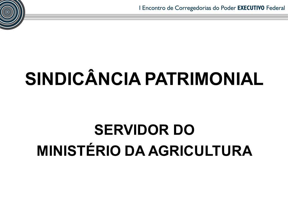 SINDICÂNCIA PATRIMONIAL SERVIDOR DO MINISTÉRIO DA AGRICULTURA