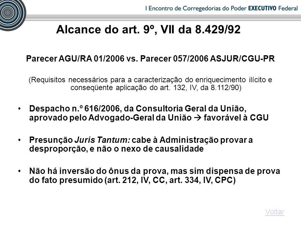 Alcance do art. 9º, VII da 8.429/92 Parecer AGU/RA 01/2006 vs. Parecer 057/2006 ASJUR/CGU-PR (Requisitos necessários para a caracterização do enriquec