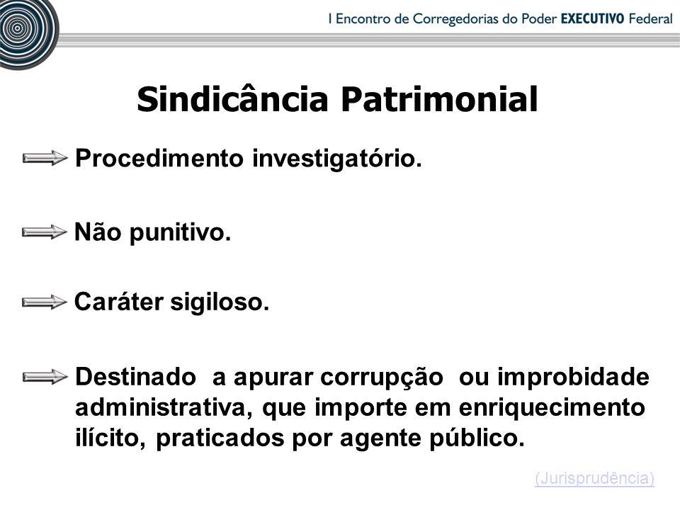 Sindicância Patrimonial Procedimento investigatório. Não punitivo. Caráter sigiloso. Destinado a apurar corrupção ou improbidade administrativa, que i