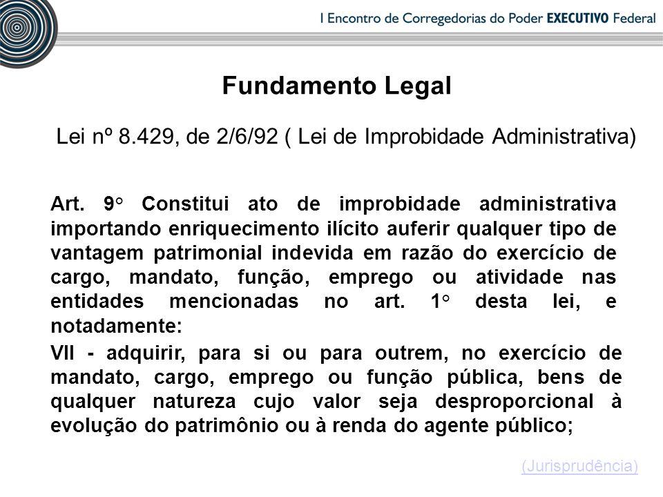 Lei nº 8.429, de 2/6/92 ( Lei de Improbidade Administrativa) VII - adquirir, para si ou para outrem, no exercício de mandato, cargo, emprego ou função pública, bens de qualquer natureza cujo valor seja desproporcional à evolução do patrimônio ou à renda do agente público; Art.